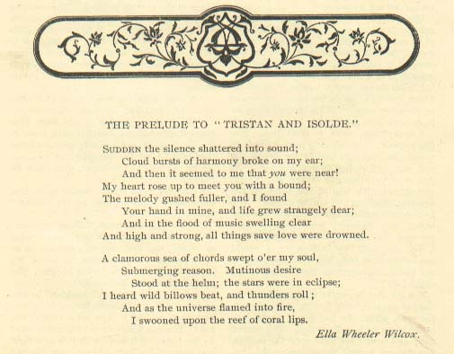 The Prelude To Tristan And Isolde An Ella Wheeler Wilcox